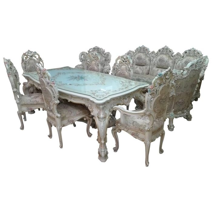 Dining room furniture with sitting room - style of the Venetian palaces of the 18 century, the era of the Serenissima - most valuable padded fabric and shades of gold and cream colour - 1980, Italy (13)