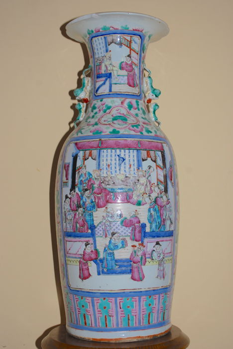 Large  Qing Dynasty Famille Rose Vase, China, 19th c