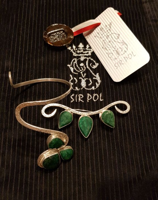 Sir Pol Paris - Bracelet and brooch, silver, six emeralds