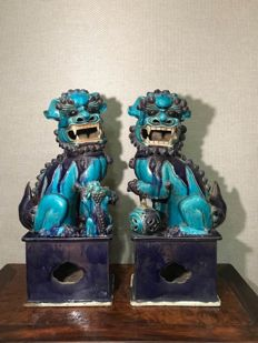 A pair of large  Foo lions, Late Qing, Republic period
