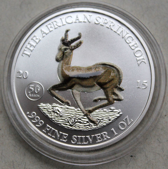 Gabun - 1000 Francs 2015 'Springbok with 3D- relief applications' - 1 oz silver