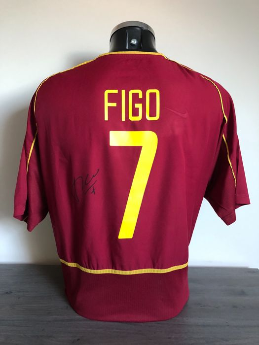 100% authentic 7060c 8e305 Luis Figo signed Portugal retro 2000 shirt with photos of ...