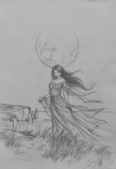 Paturaud, Laurent - Original pencil drawing - Fairy