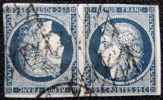 France 1849 - Rare Tête-Beche 2c blue signed Scheller with certificate - Yvert n° 4c