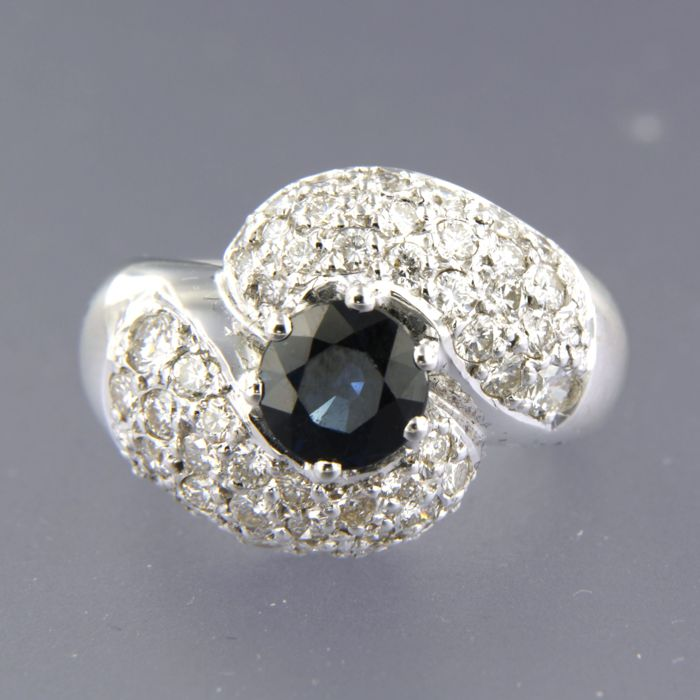 18 quilates Oro blanco - Anillo - 1.50 ct Diamante - Zafiro