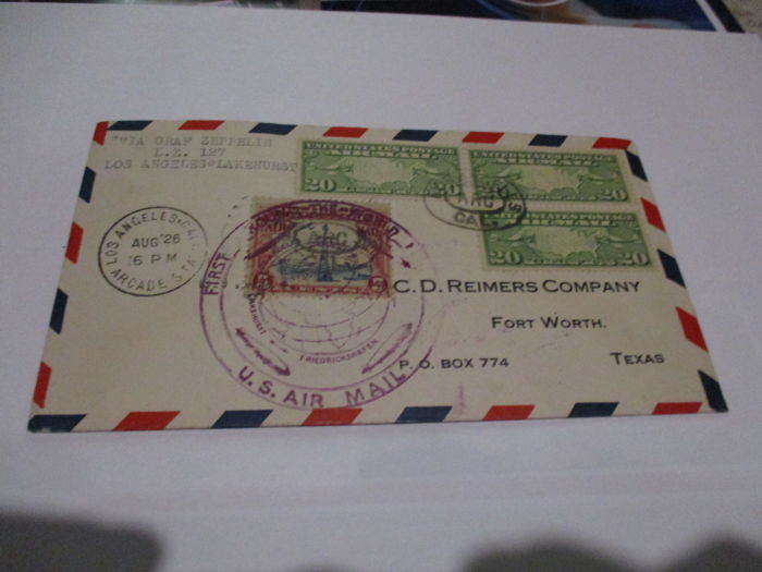 USA 1929 airmail letter LZ 127 America voyage Graf Zeppelin