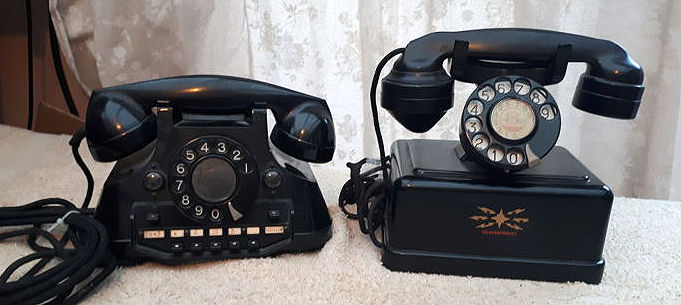 Two phones: a Bakelite telephone and a metal telegraferket with a Bakelite receiver, Netherlands and Sweden, 1950s