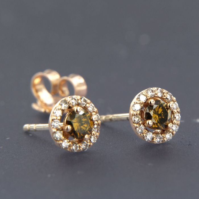 - no reserve price - 14 kt rose gold stud earrings set with 28 brilliant cut diamonds, approx. 0.54 ct in total