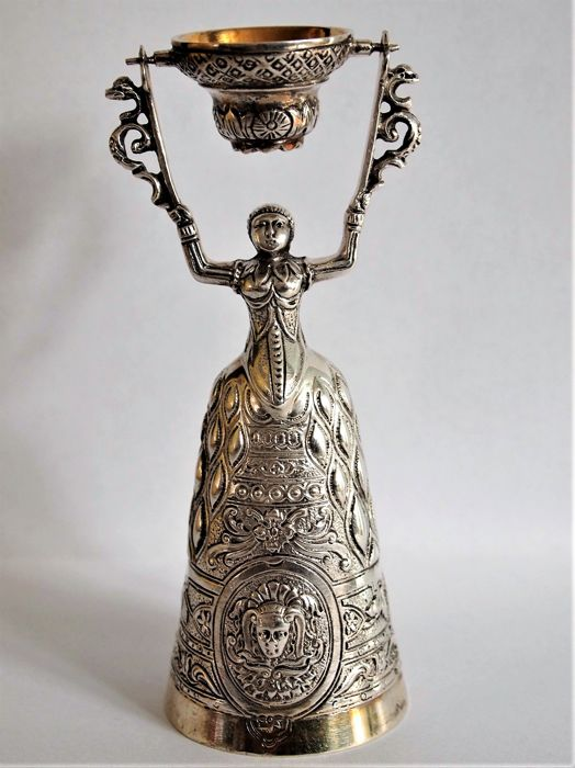 Antique traditional Dutch silver and gold gilted wedding cup, with a beautifully detailed finish second half 20th century