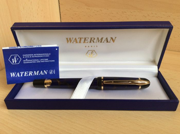 "WATERMAN ""PHILEAS"" fountain pen - flecked blue with gold coloured inlays and engravings inspired by Art Deco - rare and collectible because this model is no longer in production"