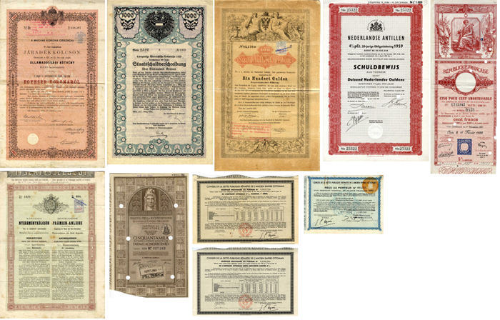 Collection Statebonds various countries 1868-1959 (10 pieces)