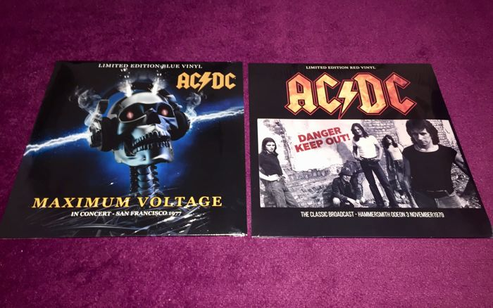 AC/DC - Great lot of 2 Lp`s on red and blue coloured vinyl; Maximum Voltage+Danger-Keep Out!