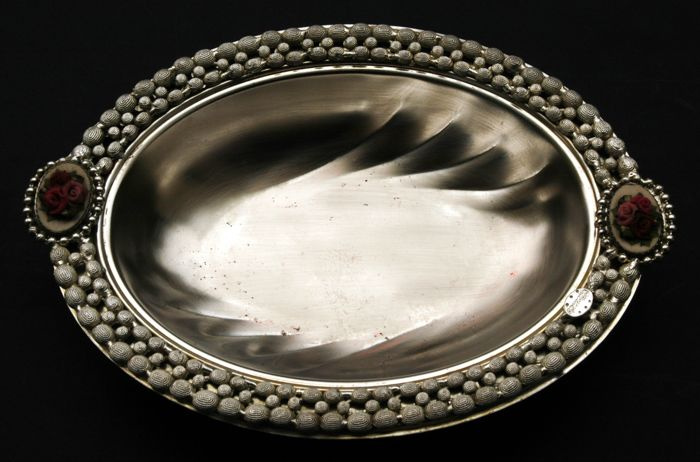 Antique Silver Plated Bowl with Porcelain Decoration Italy ca. 1950s & Antique Silver Plated Bowl with Porcelain Decoration Italy ca ...