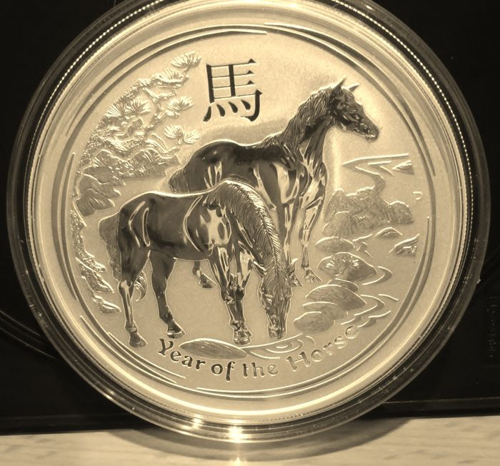 Australia - 8 Dollar 2014 Year of the Horse - 5 Oz - Argento
