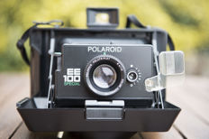 Polaroid EE 100 Special Instant Film land camera + Kenlock TC-45 vintage flash + vintage Power Pack