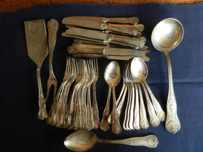 12 people silver plated cutlery, shell pattern, Louis XIV style.