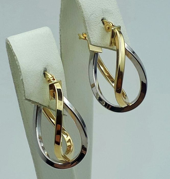 14 Ct Yellow & White Gold Crossover earrings, length 2.50cm, Total weight 2.31g