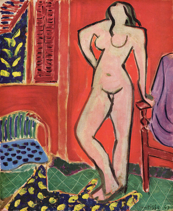 Henri Matisse (after) - Nu debout (Red interior with standing nude)