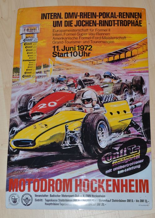 Jochen Rindt 1972 trophy - Hockenheim ring metal sign