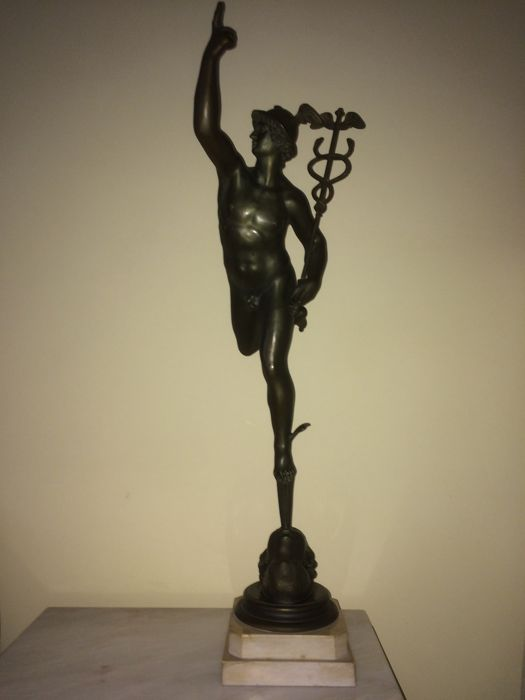 God Mercury, after Giambologna, statue in bronze alloy, mid-20th century