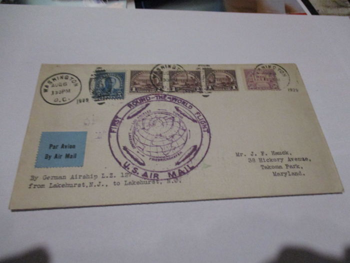 USA 1929 airmail letter LZ 127 First Flight Around the World