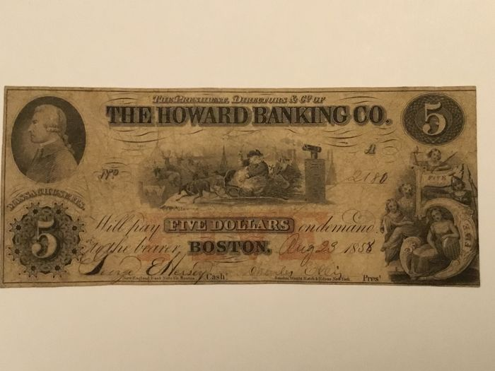 USA - Obsolete Currency - 5 dollars 1858 - Howard Banking Company Massachusetts