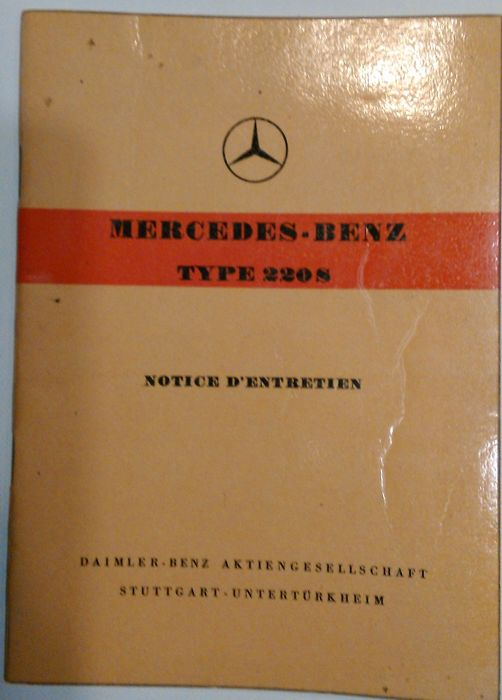 Mercedes-Benz Type 220 S maintenance manual