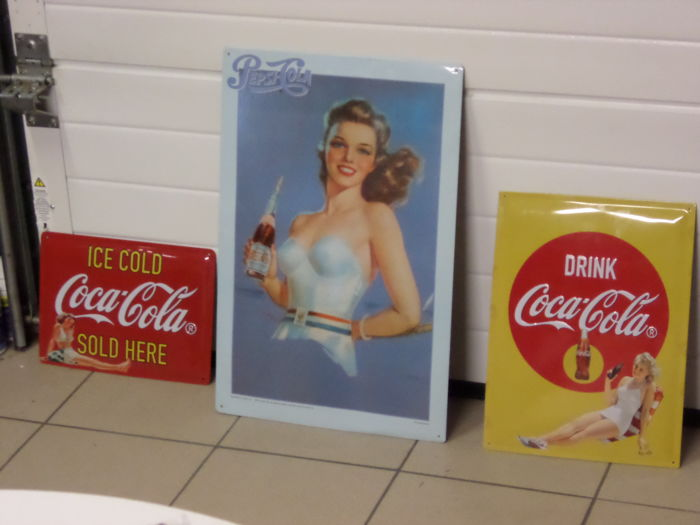 2 Coca -Cola advertising signs 125 years Limited Edition +1 Pepsi Cola Board