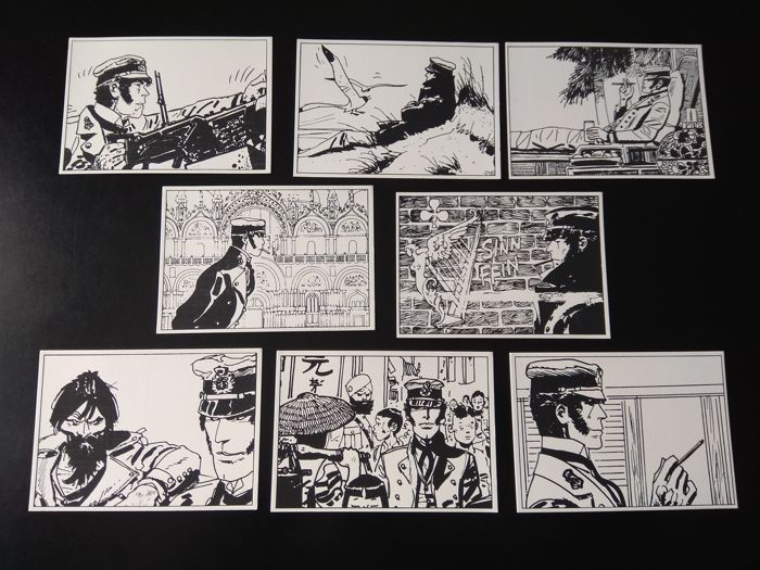 Pratt, Hugo - 8 Corto Maltese cards - Limited edition of 500 copies - Published by Edition Jean Pierre Hubert - 1984
