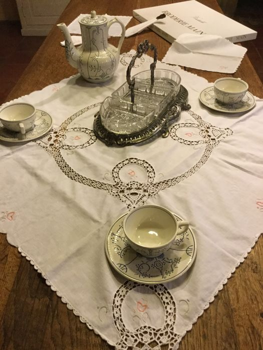 Beautiful Embroidered Lace Tablecloth With 4 Napkins, Nice Beautiful  Handwork 80 X 80 Cm __