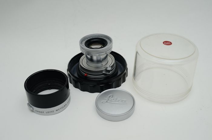 Leitz Wetzlar Elmar 1:2.8 / 50 chrome no: 1990216 set with case and Leitz ITOOY lens hood from 1963