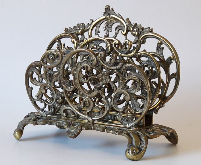 Letter stand / napkin holder - heavily made from brass (or bronze?), France, circa 1900