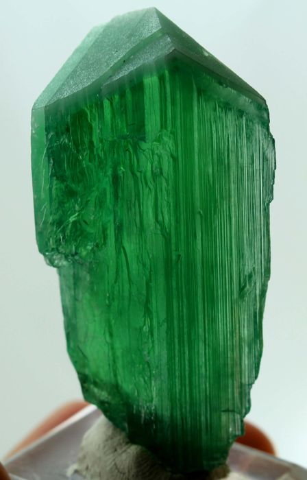 Large Size Terminated V shape Lush Green Color Kunzite Hiddenite Crystal - 65 x 31 x 15mm - 56 gm