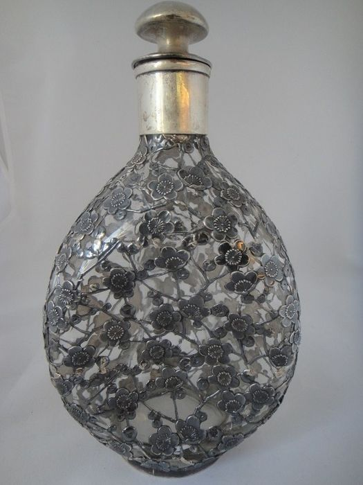 Dimple bottle with Japanese silver work - Japan - around 1900 (Meiji Period)