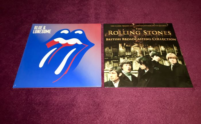 The Rolling Stones - Lot of 2 lp`s; Blue And Lonesome+British Broadcasting Collection On Clear Vinyl