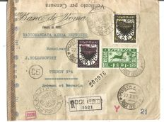Aegean Islands - Registered express airmail with 3 stamps from Rhodes to Bohemia No.  A.30, A33, E.1