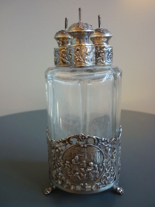 dutch silver holder for oils or essences with three bottles