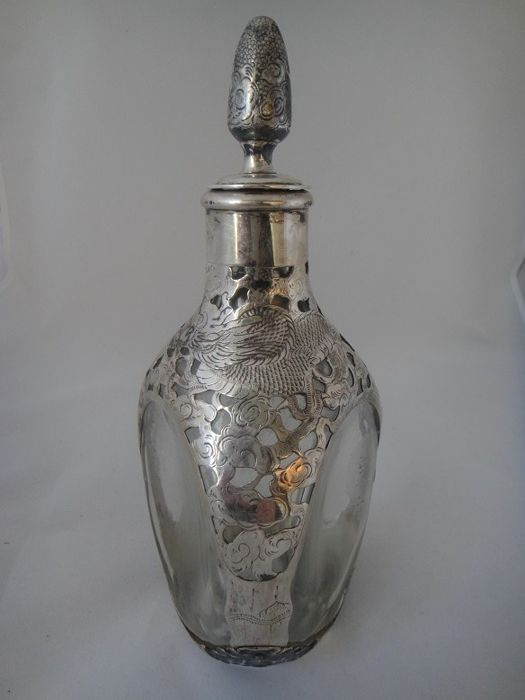 Antique silver-mounted export dimple decanter - China - circa 1900