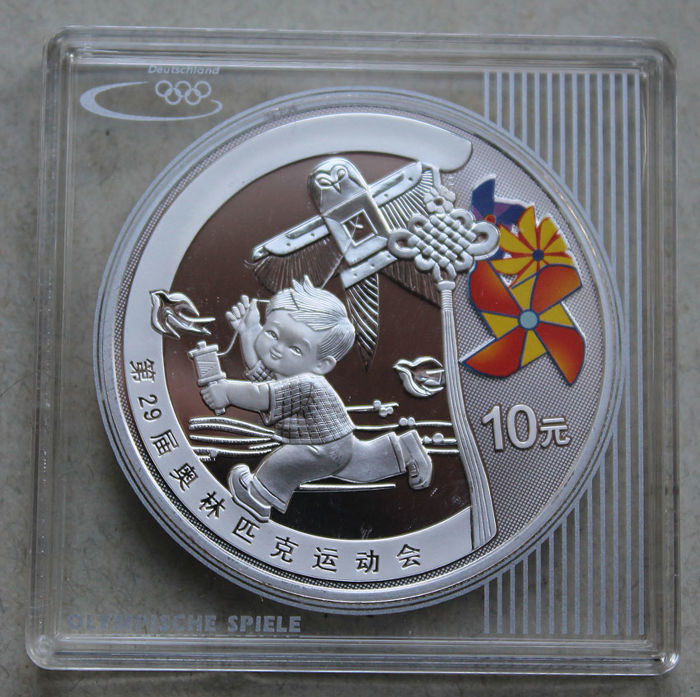 China - 10 yuan 2008 'Olympic Games Beijing - boy flying a kite' - 1 oz silver