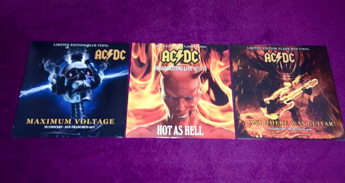 AC/DC - Great lot of 3 coloured limited edition lp`s;Maximum Voltage (blue)+And There Was Guitar (red)+Hot as Hell (flaming)