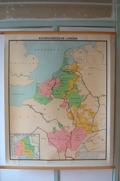 Historical wall map BURGUNDIAN COUNTRIES after the Treaty of Verdun (843)