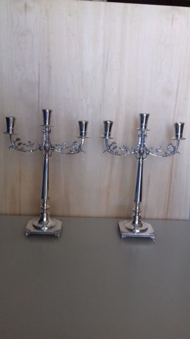 Pair of Three-Light Candlesticks, Silver 800 Arpa of Giorgio Padovani Florence (Italy), second half 20th c