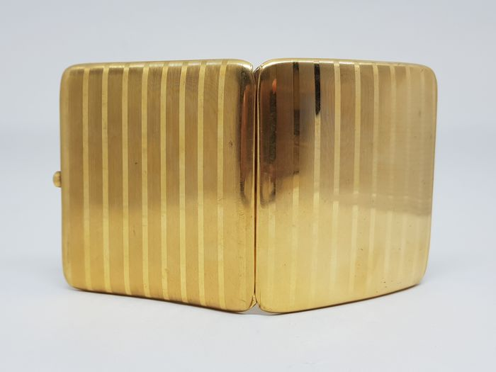 Gold Cigarette Case - Handmade By Master Belgian Designer L. Van Strydonck  - Case Open Button Set with Sapphire Cabochon
