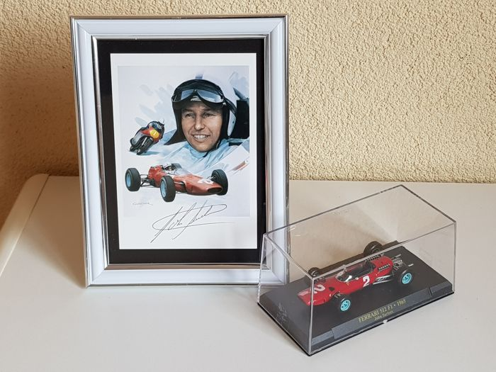 John Surtees (RIP) - hand signed framed photocard + 1:43 model Ferrari 512 F1 1965 + COA