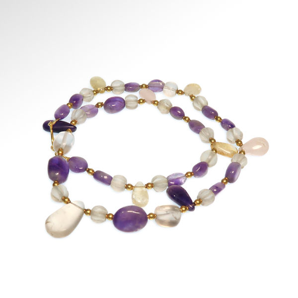 Roman Amethyst, Crystal and Gold Necklace, Total length=51.3 cm L