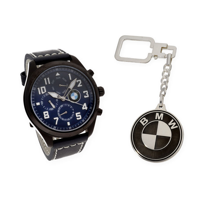 S&S men's watch for BMW + Sterling silver key ring with BMW logo