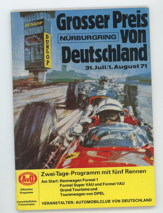 2 x motor racing programmes for the 1971 German Grand Prix and the 1979 1000 km Nurburgring.