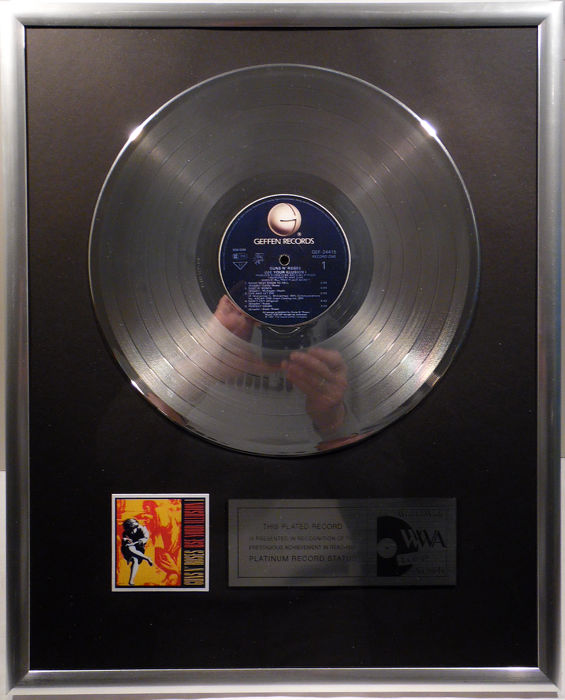 "Guns N' Roses -  Use your Illusion I 1 - 12"" Geffen Record platinum plated record by WWA Awards"