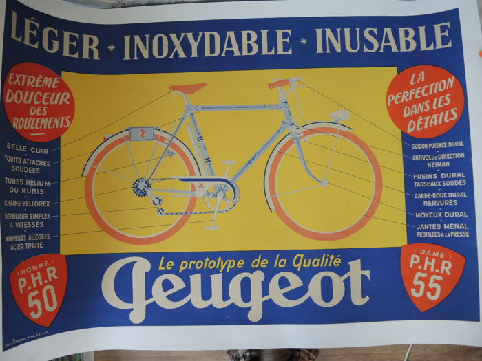 Promotional poster - Peugeot bicycles around 1953