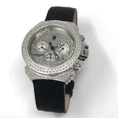Lancaster - Pillo Deco' 3.59 ct Diamond Watch Silver, Leather - OLA0426G/NR - Dames - NEW